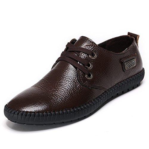 Grrong Sapatos Dos Homens De Couro Genuíno Lazer Couro Redondo Cabeça-marrom Preto Marrom