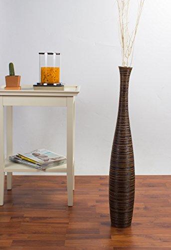 Leewadee - Jarrón de suelo (madera, 75cm), color marrn