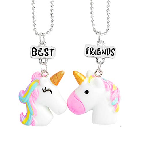 Toyvian Best Friends Unicorn Necklace Rainbow Pendant for Kids Birthday Graduation Gifts 2pcs