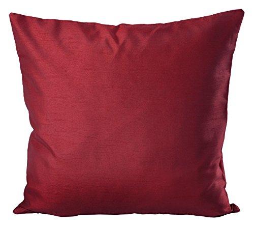 Cojín de seda salvaje con aspecto de madera de colour de la funda de almohada decorativa de decoración y funda de almohada de #1134, poliéster, burdeos, 50 x 50 cm