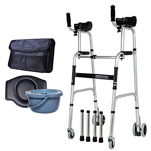 ZXL Klappbarer Verstellbarer Gehrahmen aus Aluminiumlegierung mit 5-Zoll-Vorderrädern, Mobile Toilette, für ältere Menschen geeignet (Portable Toiletten Für ältere Menschen)