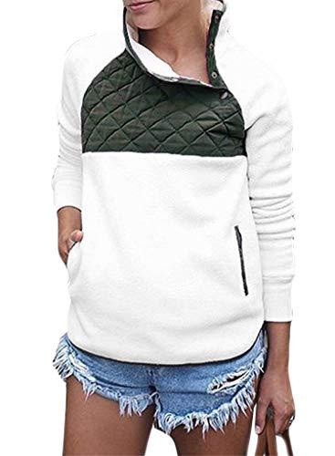 Importiert Damen Stiefel (Blibea Damen Langärmelige Fleece-Sweatshirts, Mantel mit Knopfleiste und geometrischem Ausschnitt - weiß - X-Groß)