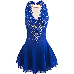 YunNR Robe de Compétition de Patinage Artistique Professionnelle pour Les Femmes Halter Neck Strass V-décolleté de Patinage sur Glace de Gymnastique de Danse Porter des Robes Collant,RoyalBlue,S
