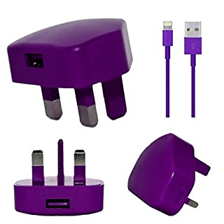 Aulola® High Quality USB Plug & 8 pin Lightning Data Sync Charging Cable for Apple iPhone X, 8, 7 Plus 6S 6 Plus, iPad Air (PURPLE 7G 2-1)