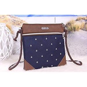 Umhängetasche Damen Zip Reißversschlusstasche Ledertasche Anker Weiß Blau Braun Ankertasche, Anker Tasche Kunstleder, Maritim, Damen Handtasche, Abendtasche, Geschenk für Frauen