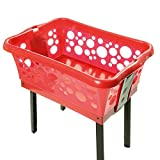 Wäschekorb mit ausklappbaren Beinen rot – Made in Germany – Wäschekorb Kunststoff mit großem Volumen – Wäschewanne auf Beinen für rückenschonendes Aufhängen der Wäsche ohne Bücken
