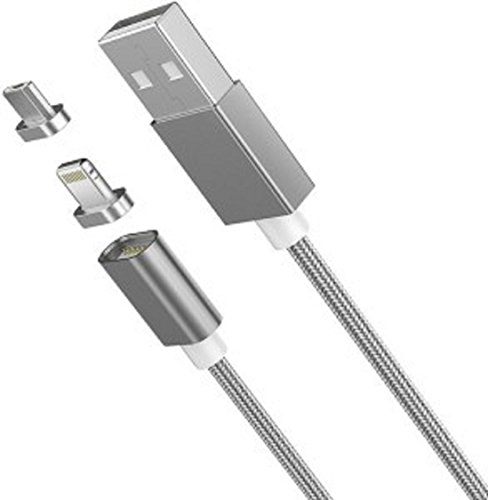 Rewy DM_B25 Magnetic 2-in-1 USB Data Charging Cable with Fast Transmission/Magnetic Connector/Metal Plug/Anti-Knotted Compatible with All Android, iOS & Windows Device (Assorted Colour)