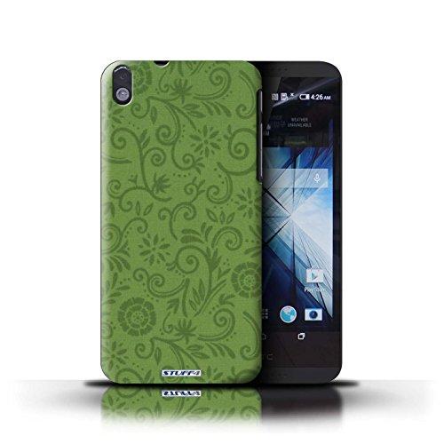 Kobalt® Imprimé Etui / Coque pour HTC Desire 816 / Fleur pourpre conception / Série Motif Remous floral Fleur verte