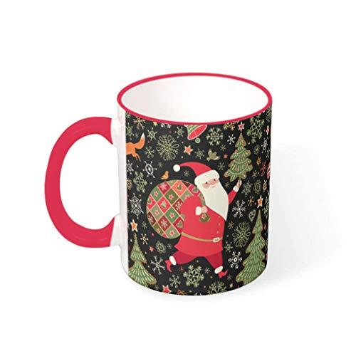 O4EC2-8 11 oz Christmas Flower Wasser Kaffee Becher Tassen mit Griff Hochwertige Keramik Personalize Tassen - Weihnachten, Anzug für Büro verwenden mred 330ml