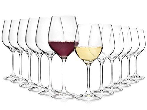 Bluespoon Weingläser Set aus Kristallglas 12 teilig | Füllmenge 520 ml & 400 ml | Perfektes...