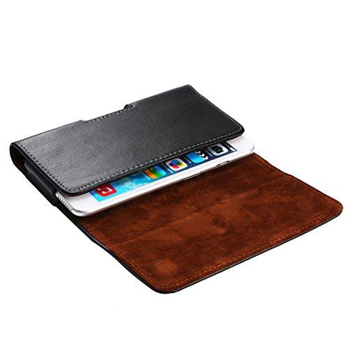 KM-WEN® Echtes Leder Handgefertigte Gürteltasche Muster-Männer Beutel-Handy-Fall für Apple iPhone4 / 4s, iPhone 5 / 5s, Hüfttasche Geldbörse Phone Case Schwarz Schwarz-3