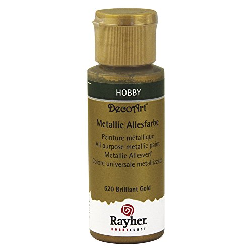 RAYHER – All Purpose Metallic Paint, Flasche,, 59 ml, acryl, Brilliant Gold, 3.4 x 3.4 x 10 cm (Gold-metallic-wandfarbe)