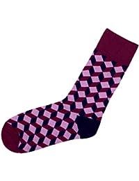 Chaussettes avec motifs rigolo sympa cool Taille: 39 - 42 pour femme homme adulte ou Ados fille garçon idée cadeau une petite touche d'humour, d'amour, de tendresse, de fantaisie, et d'originalité, choisir:SO-XL09 Muster rosa bordeaux