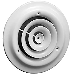 Hart & Cooley 16 Series - 12 Round White Ceiling Diffuser (Fits a 12 Hole in the Ceiling)