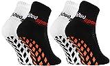 Rainbow Socks - Jungen Mädchen Neon Sneaker Sport Stoppersocken - 2 Paar - Weiß Schwarz -...