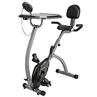 Finether Fitness Bike Exercise Bike Home Trainer Home Exercise Equipment: Folding Magnetic Exercise Bike with Backrest│Desktop│Cup Holder│LCD Monitor Home Gym 100kg Capacity