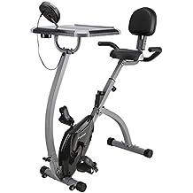 Finether - Bicicleta Estática Plegable Magnética con Respaldo, Bicicleta Fitness Plegable, Bicicleta Ajustable Gimnasio