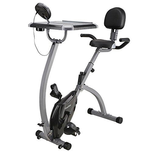 Finether Vélo d'appartement Pliant Fitness Gym Bike Intérieur Vélo d'exercice, Réglable Résistance et Sangle, LCD Écran, Moniteur avec d'Ordinateur Table, Gris