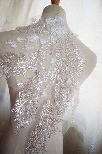 Lace Crafts - Offwhite schwere Perlenpailletten Spitzen-Applikationen hellrosa Braut-Spitzen-Applikation Kostüm Tanz-Accessoires light pastel blue (Applikationen Für Tanz Kostüm)