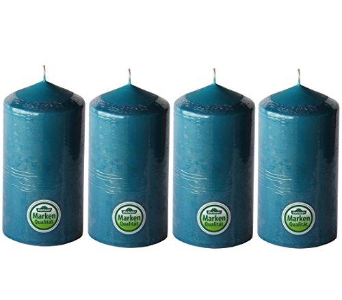 Dehner Stumpenkerzen, 4 Stück, Ø 7.7 cm, Höhe 15 cm, petrol