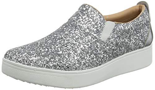 Fitflop Sania Glitter Skates, Zapatillas sin Cordones para Mujer, Plateado Silver 011
