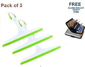 Hugo Non-Slip Hand-Held Wiper for Cleaning Window Glass, Tiles, Kitchen Table Platform, Car Auto Windshield (Multicolour, HUGWPR18) - Pack of 3