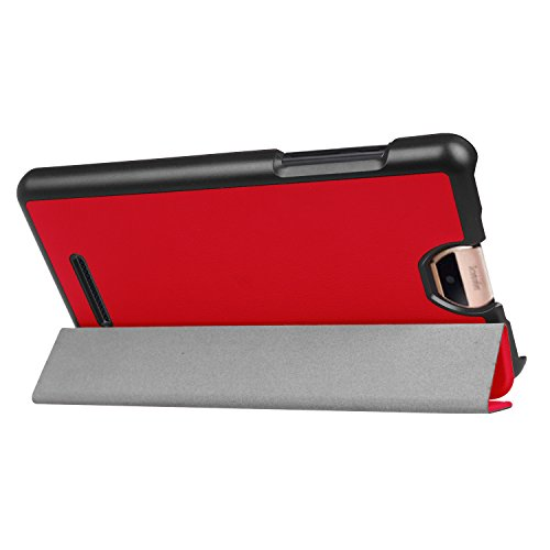 Kepuch Custer Acer Iconia Talk S A1-734 Hülle - Shell Schutzhülle PU Tasche Smart Case Cover für Acer Iconia Talk S A1-734 - Rot (Iconia Cover Für A1 Acer)