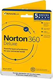 Norton 360 Deluxe | 5 Users 1 Year |Total Security for PC, Mac, Android or iOS  | Physical Delivery | No CD