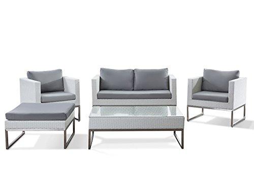 Gartenmöbel Set weiss - Edelstahl und Rattan - Tisch - Sofa - 2x Sessel - Ottoman - CREMA (Und Ottoman Sessel)