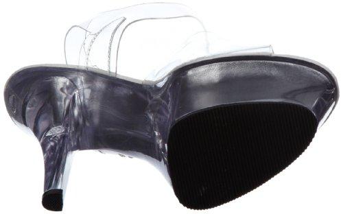 Pleaser - KISS-208, Scarpe col tacco con cinturino a T Donna Trasparente (Transparent (Clr/clr))
