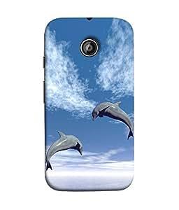 FUSON Designer Back Case Cover for Motorola Moto X2 :: Motorola Moto X (2nd Gen) (Dusky Dolphins Blue Sea Ocean Background)