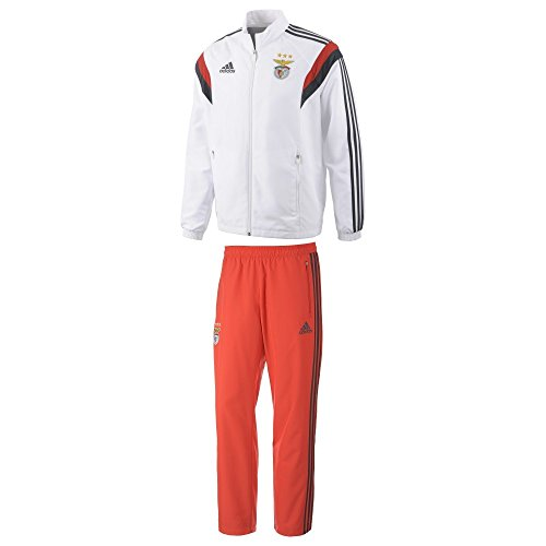 adidas Herren Trainingsanzug SLB PRE SUIT, Weiβ/Grau/Rot, S, 4054072415480