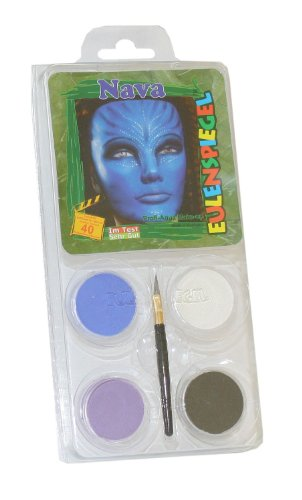Eulenspiegel 204672 - Schminkset Nava, 4 Farben, Pinsel und (Kostüm Make Avatar Up)