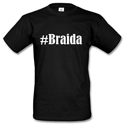 T-Shirt #Braida Hashtag Raute für Damen Herren und Kinder ... in den Farben Schwarz und Weiss Schwarz