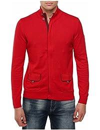 Homme LAZUROS - Rouge Slim Fit avec manches longues Zipper Casual Sweater par GEAR