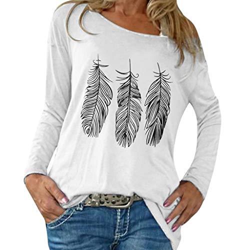 Lose Mode Großes Entspannendes Gedrucktes Langes Hülsen T-Shirt Der Herbst Frauen Loses, Lässiges Langarm T-Shirt Mit Großem Print Für Herbstfrauen (Frauen Baumwolle Pea Jacken Coat)