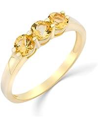 Miore Damen-Ring 9 Karat (375) Gelbgold rhodiniert Citrin MG9188R