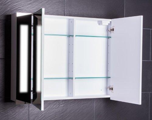 Galdem CURVE100 Spiegelschrank, Holz, 100 x 70 x 15 cm, Weiß - 2