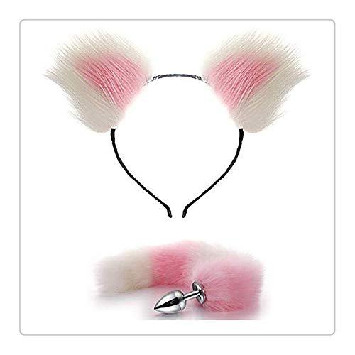 Z-one 1 Künstliches Haar Fuchs Schwanz B- ̈1tt an-?l Pl- ̈ ¨ ¨ Ω T-?-ys Anale Katzenohren Haarnadel Stirnband Kopfbedeckung Set für Happy Z-one 1 Life (weiß & pink)