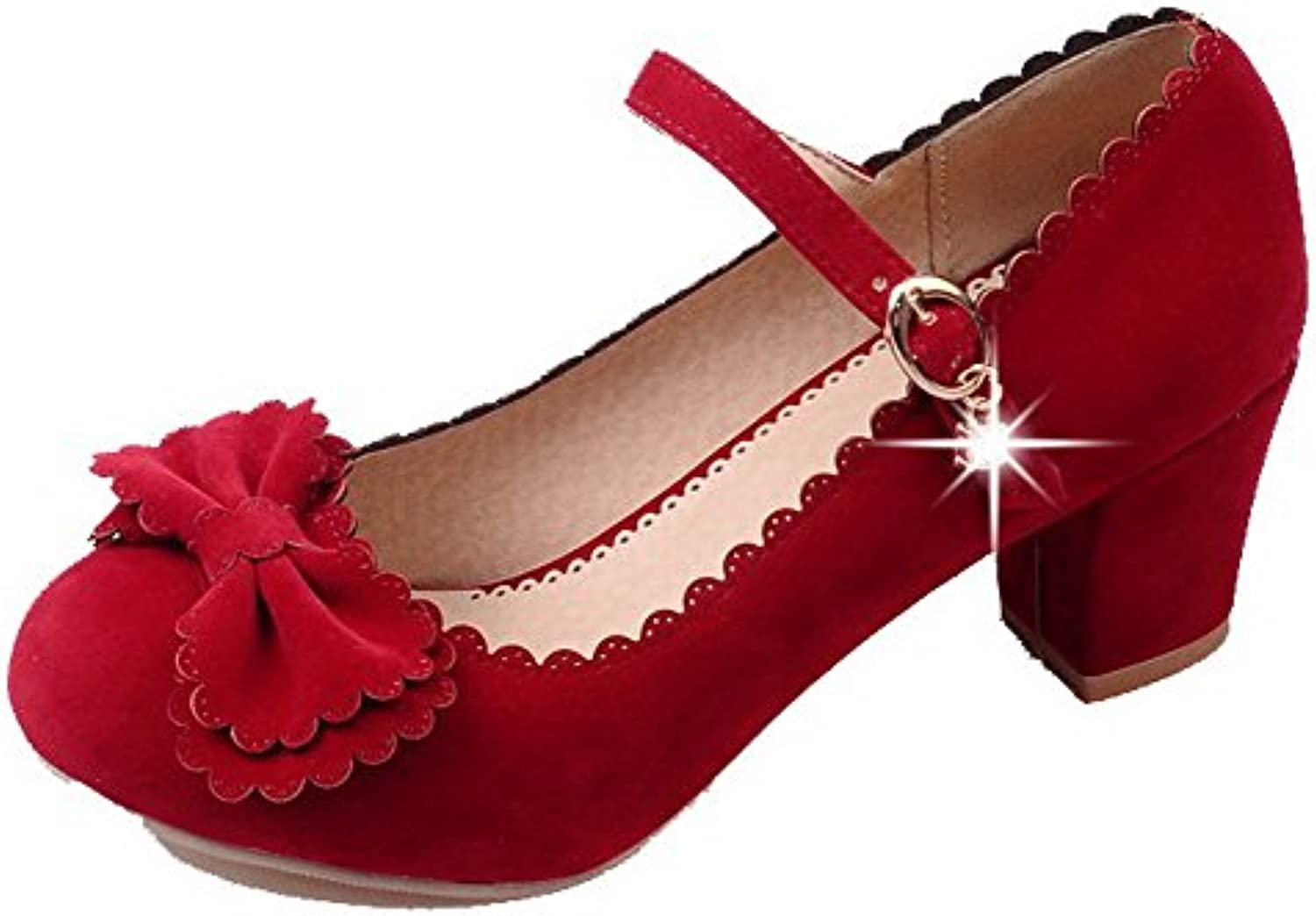 16ae10bc9e6 Odomolor Women s Kitten-Heels Solid Solid Solid Buckle Frosted Round-Toe  Pumps-Shoes