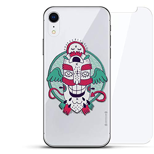 Luxendary Schutzhülle für iPhone EXR, unsichtbar, Cooles Design, gehärtetes Glas, Fantasy: Monster with Wings and Mustache, farblos