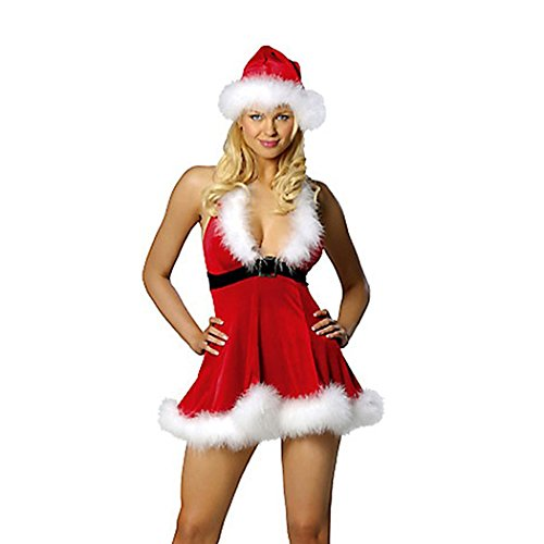 VENI MASEE Frauen Sexy Secret Santa Kostüm/Frau Miss Christmas Santa Fancy Dress Kostüm (Outfit Santa Sexy)
