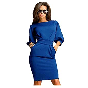 Elecenty Damen Bürokleid Solide Cocktailkleider Halbe Ärmel Kleidung Rock Abendkleider Rundhals Frauen Mode A-Linie Kleid Partykleid Schlank Hemdkleid Blusekleid Sommerkleid (S, Blau)