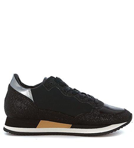 Sneakers Philippe Model Bright in pelle nera e pelle laminata rosa Nero