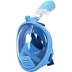Supstar Masque de Plongée Snorkeling Plein Enfants 180°Visible Anti Buée Anti-Fuite sous-Marine Snorkel Masque avec la Monture-XS/Bleu