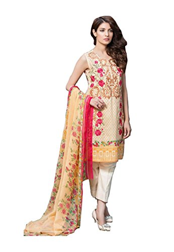 Madeesh Pakistani Suit for Women, Self Embroidery Top in Pure Cotton, Semi...
