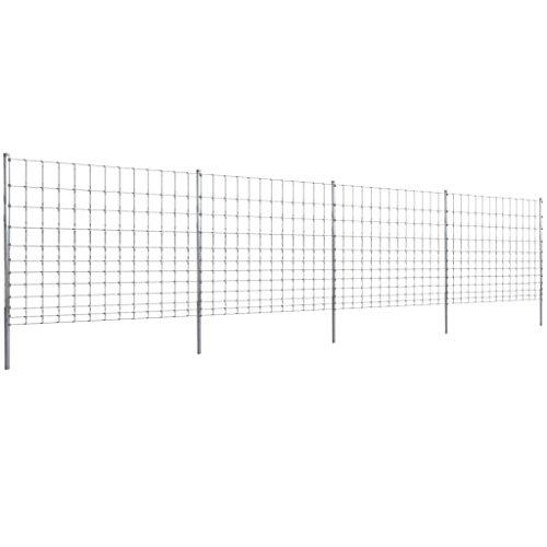 Tidyard 50m Gartenzaun Wildzaun verzinkt mit Pfosten 150/12/30 Dekorative Zäune Metallzaun Zaunpaneel
