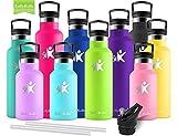 KollyKolla Vakuum-Isolierte Edelstahl Trinkflasche, 500ml BPA-frei Wasserflasche mit Filter, Thermosflasche für Kinder, Mädchen, Schule, Kindergarten, Sport, Wandern, Camping, Outdoor, Hellgrün