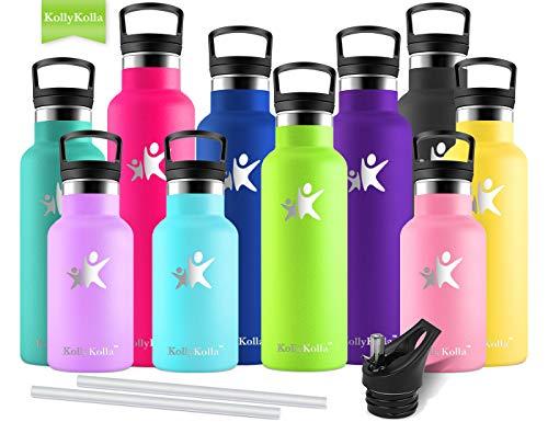 KollyKolla Vakuum-Isolierte Edelstahl Trinkflasche, 750ml BPA-frei Wasserflasche mit Filter, Thermosflasche für Kinder, Mädchen, Schule, Kindergarten, Sport, Wandern, Camping, Outdoor, Hellgrün