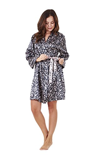 Ladies Quality Satin Wrap Kimono Black Floral Print Womens Dressing Gown